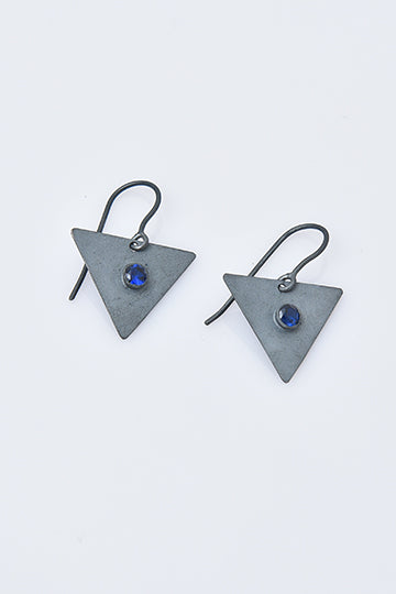 Sterling Silver Triangle Earrings with Zircon - MIRAYJEWELRY