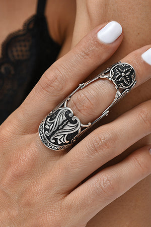 Sterling Silver Legion Ring with Flower - MIRAYJEWELRY