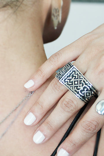 Sterling Silver Carpet Ring - MIRAYJEWELRY