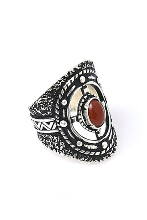 Sterling Silver Red Stone Target Ring - MIRAYJEWELRY