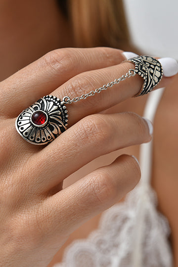Sterling Silver Red Stone Flower Chain Ring - MIRAYJEWELRY