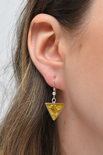 Sterling Silver Triangle Earrings with Real Flowers - MIRAYJEWELRY