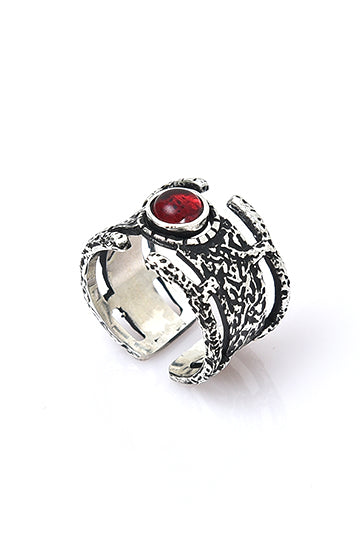Sterling Silver Red Stone Gates Ring - MIRAYJEWELRY