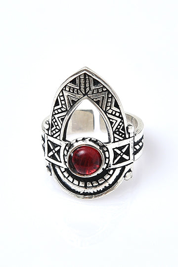 Sterling Silver Red Stone Shield Ring - MIRAYJEWELRY
