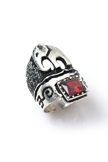 Sterling Silver Red Stone Elephant Ring - MIRAYJEWELRY