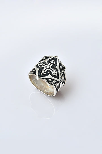 Sterling Silver Cross Men's Ring - MIRAYJEWELRY