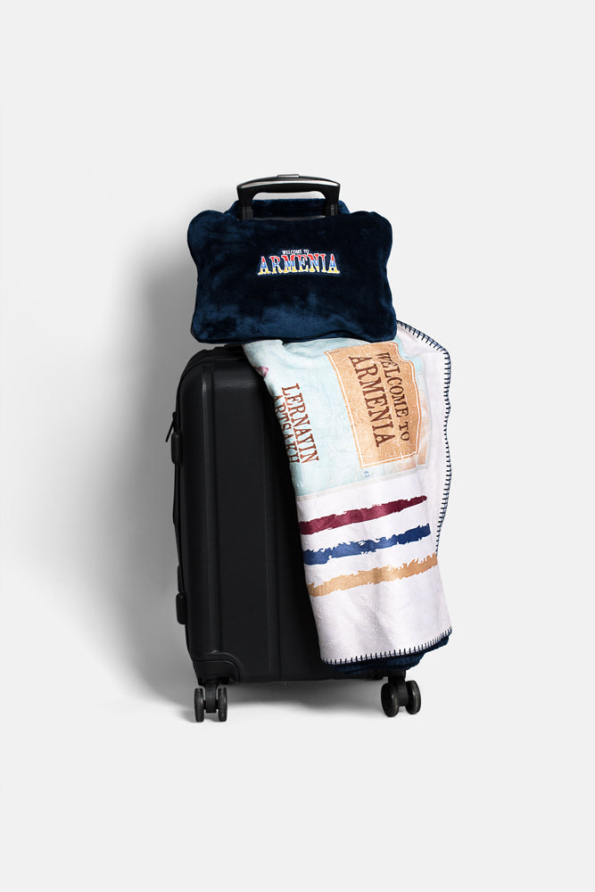 Welcome to Armenia Travel Blanket with Embroidered Bag
