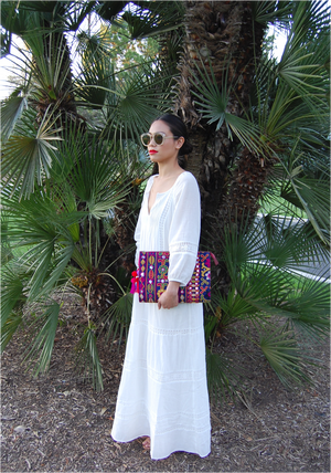 Selena Large Embroidered Clutch - AYESHA - MIRAYJEWELRY