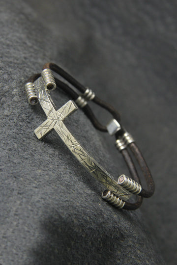 Cross Leather Bracelet - MIRAYJEWELRY