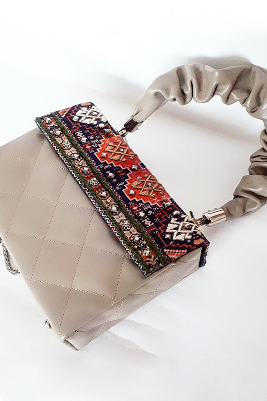 Embroidered Beige Bag