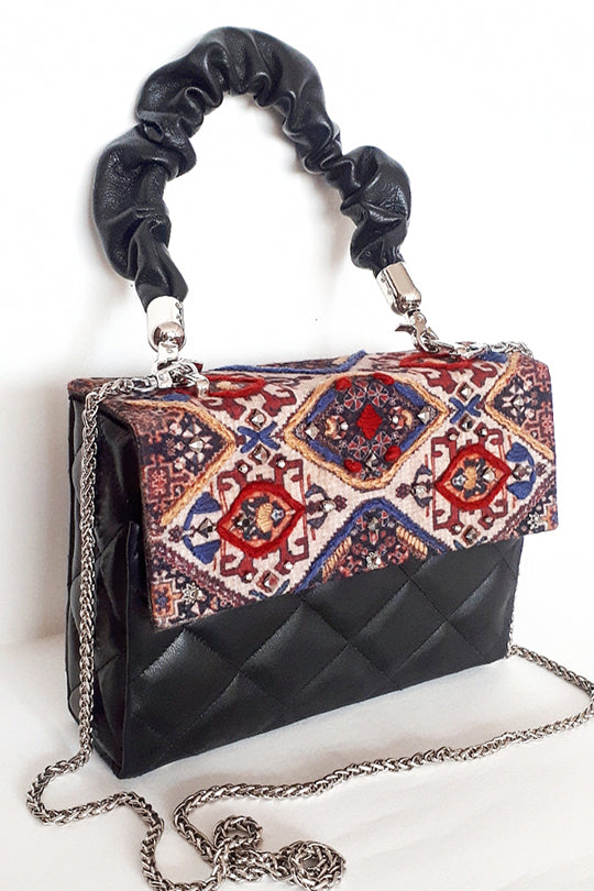 Embroidered black bag