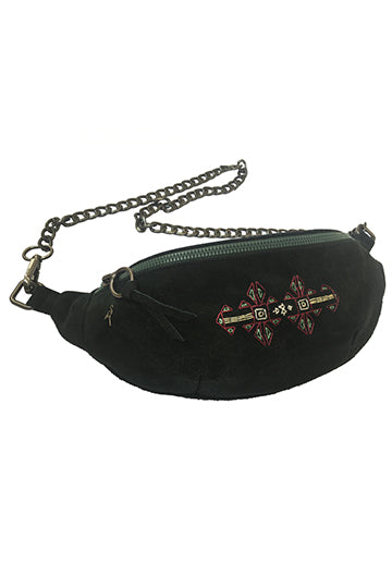 Suede Cross-body Bag with Handmade Embroidery - MIRAYJEWELRY