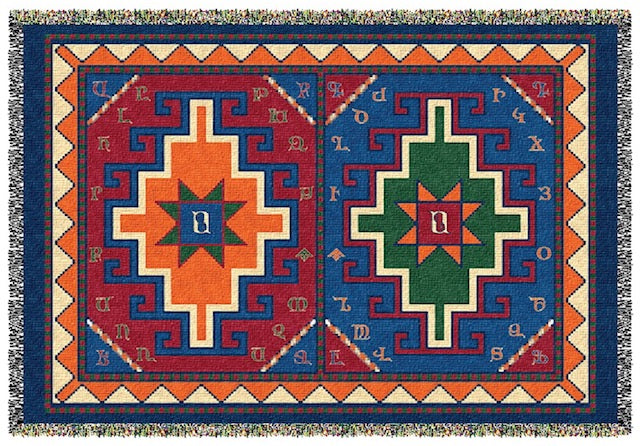 Armenian Alphabet Tapestry Throw on a Rug Design