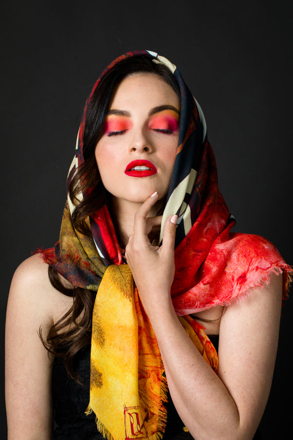 The Red Nude scarf #1 by Anet's Collection - MIRAYJEWELRY