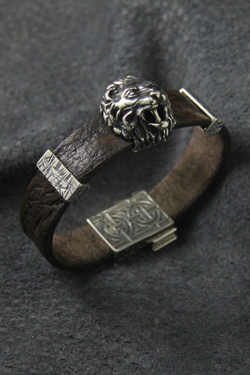 Lion Leather Bracelet - MIRAYJEWELRY
