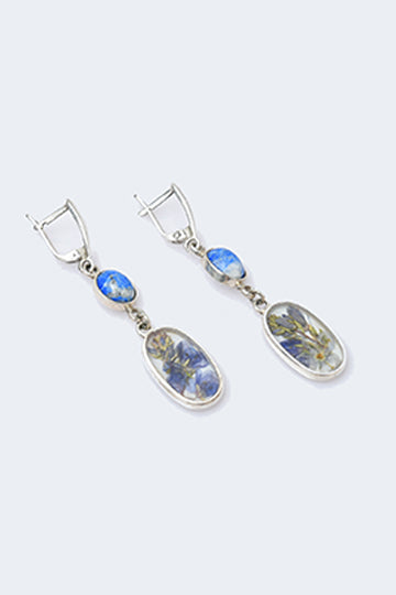 Sterling Silver Sodalite Hanging Earrings with Real Flowers - MIRAYJEWELRY
