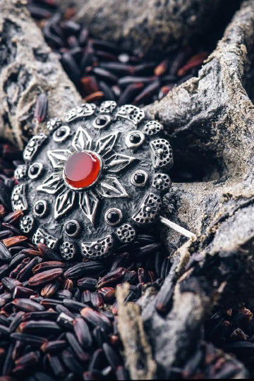 """Sunbrooch"" with red stone - MIRAYJEWELRY"
