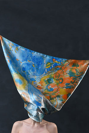 "Silk Scarf ""The Muse Of Poetry"" - MIRAYJEWELRY"