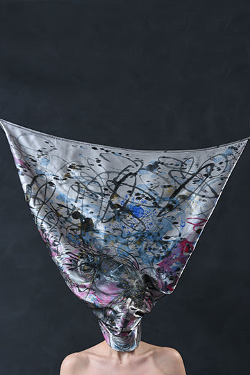 "Silk Scarf ""The Muse of Night"" - MIRAYJEWELRY"