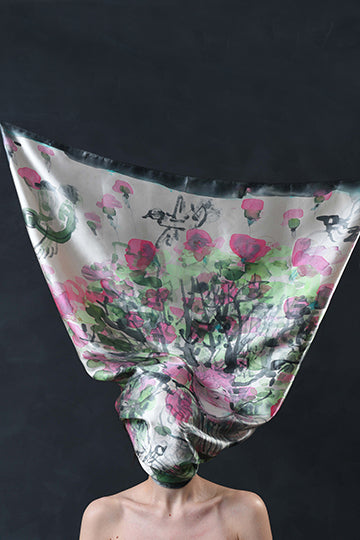 "Silk Scarf ""The Muse of Spring"" - MIRAYJEWELRY"
