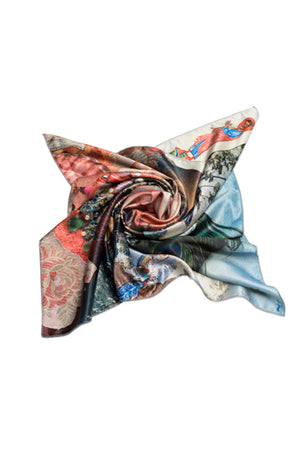 "Silk scarf ""Variation themes by Pinturicchio and Raphael"" - MIRAYJEWELRY"