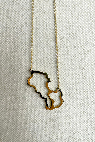 Gold-Plated Sterling Silver Necklace Map of Armenia & Artsakh