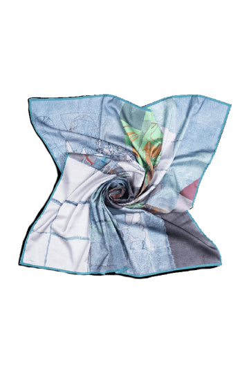"Silk scarf ""Invention of the bicycle #3"" - MIRAYJEWELRY"