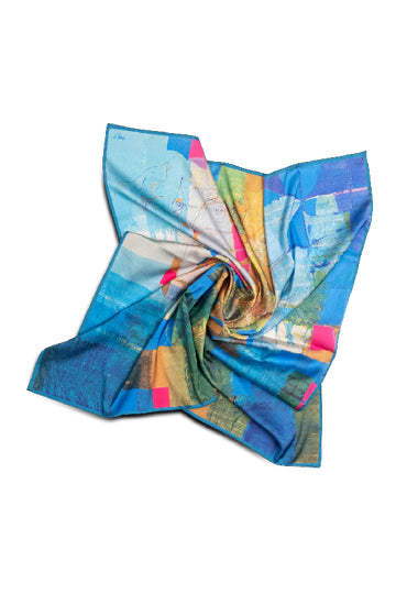 "Silk scarf ""Invention of the bicycle #4"" - MIRAYJEWELRY"