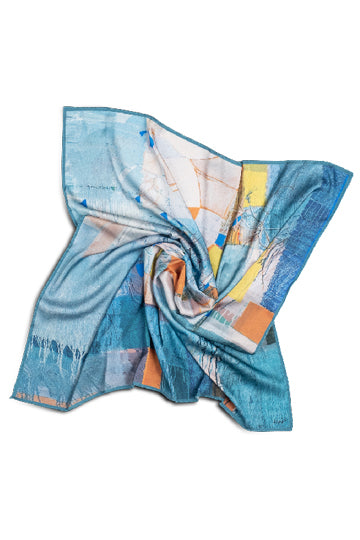 "Silk scarf ""Invention of the bicycle #5"" - MIRAYJEWELRY"