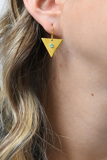 Gold-Plated Sterling Silver Triangle Earrings with Zircon