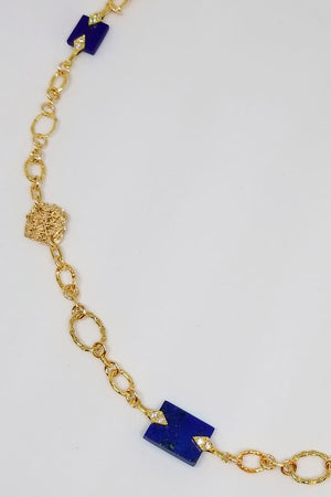 Chain Reaction Necklace with Lapis Lazuli - MIRAYJEWELRY