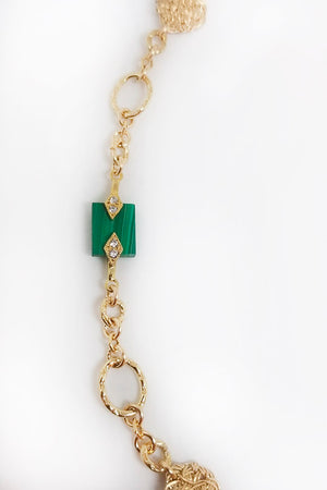 Chain Reaction Necklace with Malachite  - MIRAYJEWELRY