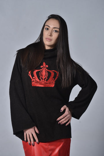 Oversized Crown Sweater - MIRAYJEWELRY