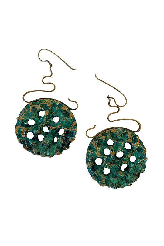 Green Round Earrings