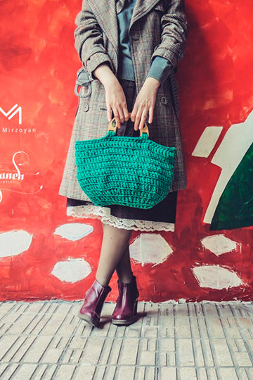 Green Knitwear Bag with Real Flowers - MIRAYJEWELRY