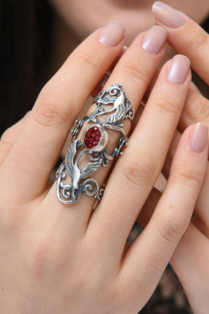 Sterling Silver Lark Ring with Noor - MIRAYJEWELRY