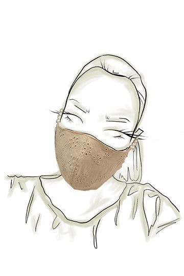 Beige Cotton Face Mask