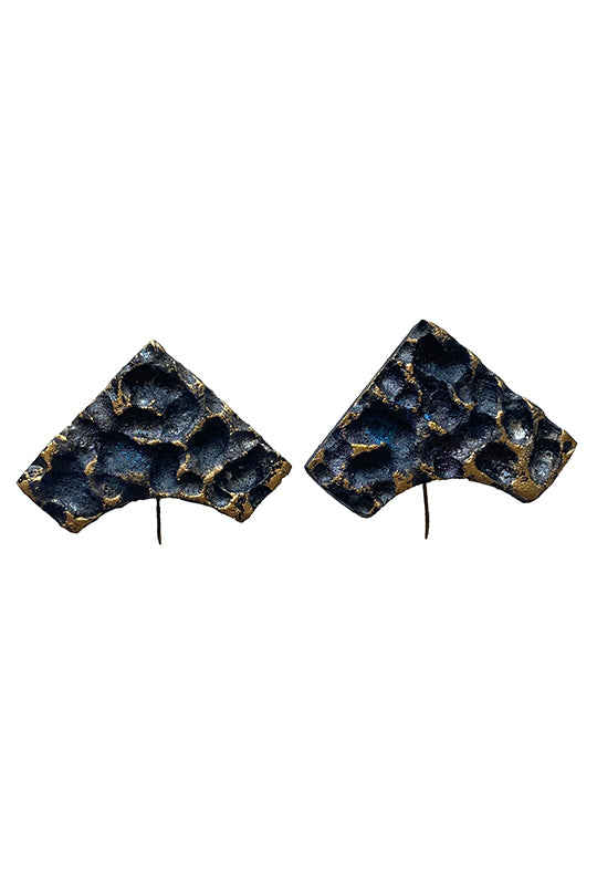 Blue Leaves Wood Earrings