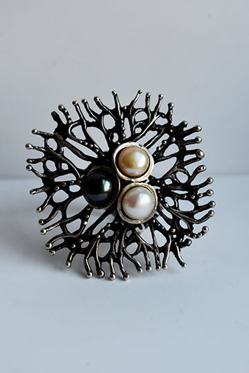 Silver Ring with Natural Pearls - MIRAYJEWELRY