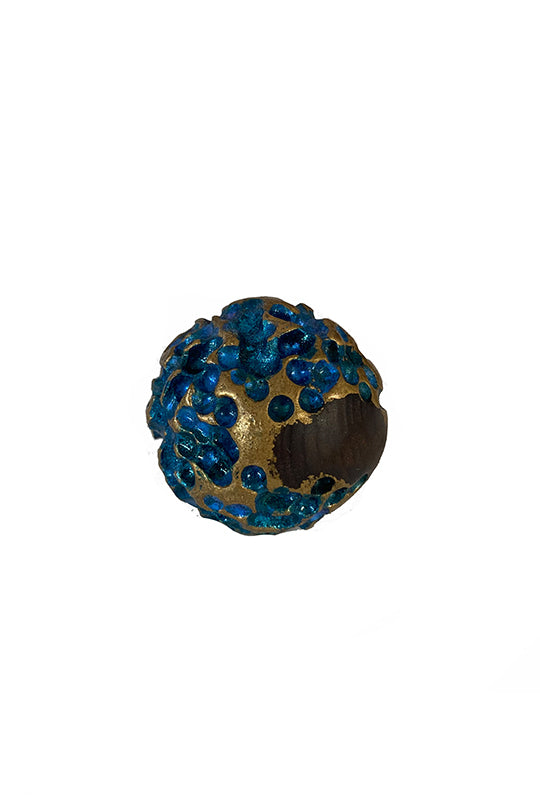 Blue Round Wood Ring