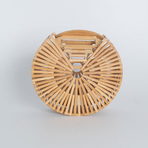 Bamboo Hand Bag Circular - Medium Natural