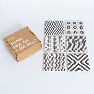 Black & White Geometric Square Tile Coaster