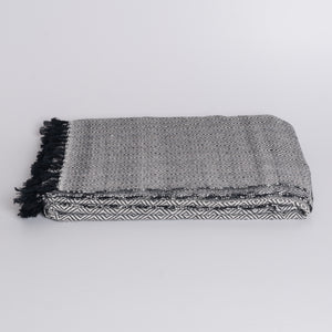 Handwoven Throw Blanket - Diamond Black