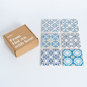 Blue & White Azulejo Square Tile Coaster