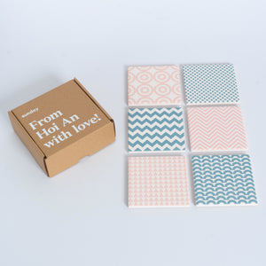Blue & Pink Geometric Square Tile Coaster