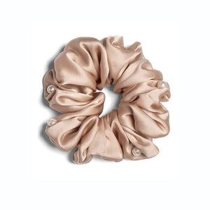 Mulberry Silk Pearls Scrunchie - Nude