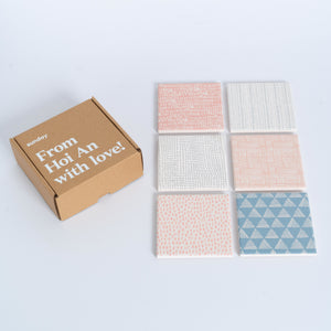 Mixed Pastel Scribble Square Tile Coaster