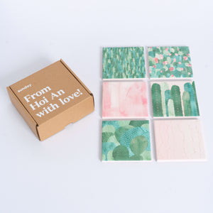 Watercolor Cactus Square Tile Coaster