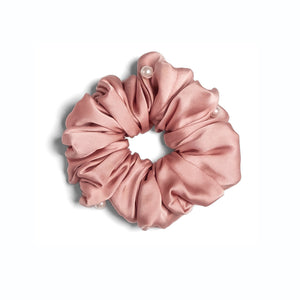 Mulberry Silk Pearls Scrunchie - French Rose