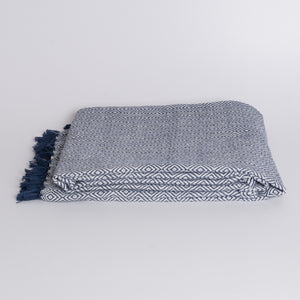 Handwoven Throw Blanket - Diamond Navy